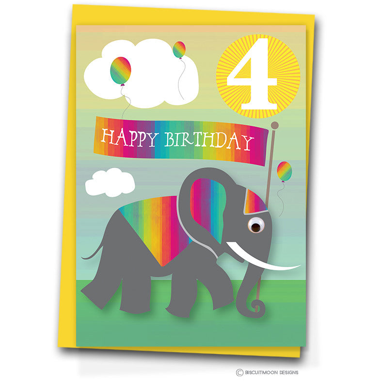Elephant Celebration 4th Birthday Card