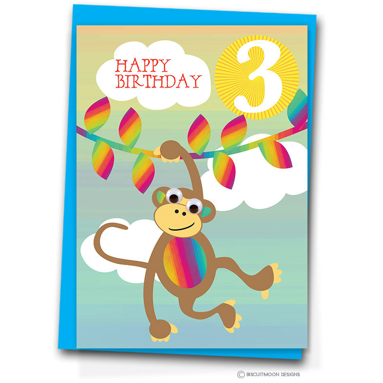 Little Monkey 3rd Birthday Card