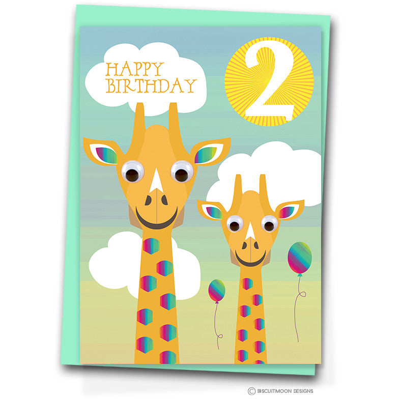 Party Giraffes 2nd Birthday Card Biscuitmoon Designs