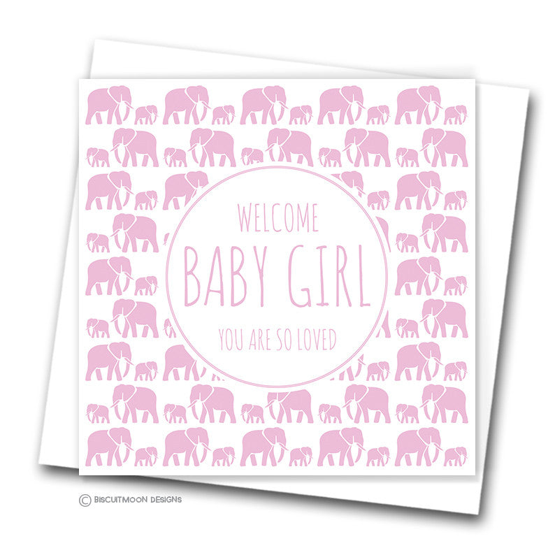 Welcome baby girl new baby card biscuitmoon designs welcome baby girl new baby card m4hsunfo
