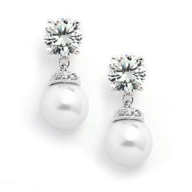 Round CZ Wedding Earrings with Bold Pearl - Jordan's Modern Bride and Groom