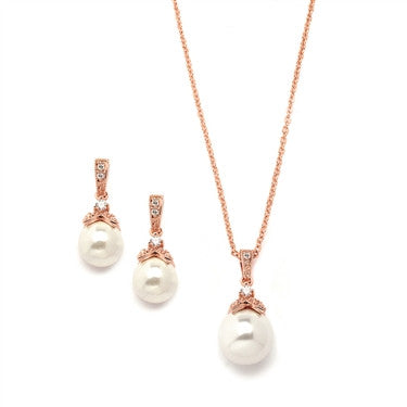 Rose Gold Pearl Drop Necklace Set with Vintage CZ - Jordan's Modern Bride and Groom