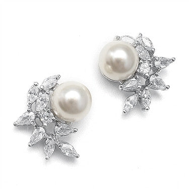 CZ Crescent Bridal Clip-On Earrings with Pearl
