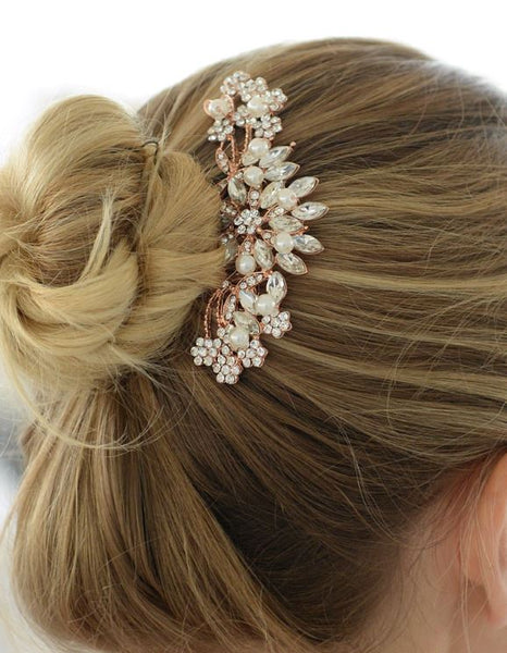 Rose Gold Hair Comb with Pearls, Crystals & Lucite Sunburst - Jordan's Modern Bride and Groom