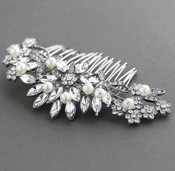 Pearl, Crystal & Lucite Sunburst Wedding or Prom Comb - Jordan's Modern Bride and Groom