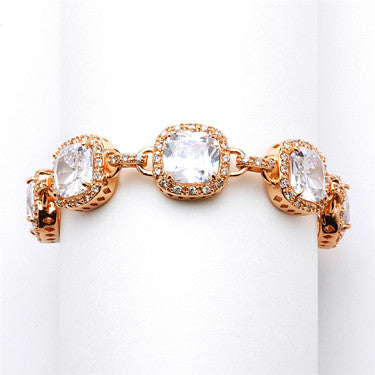 Magnificent Rose Gold Petite Length Cushion Cut CZ Bridal Bracelet - Jordan's Modern Bride and Groom