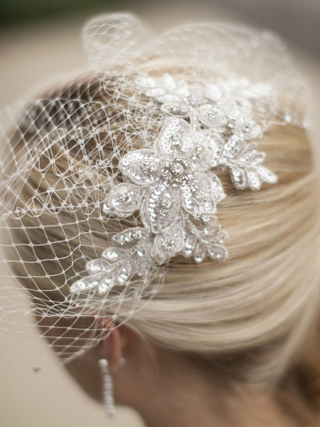 Bold Crystal Ivory Lace Applique Wedding Veil with French Net Birdcage Blusher & Scattered Crystal Edge - Jordan's Modern Bride and Groom