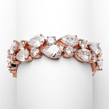 Red Carpet Bold CZ Pears Bridal Statement Bracelet in Rose Gold - Jordan's Modern Bride and Groom