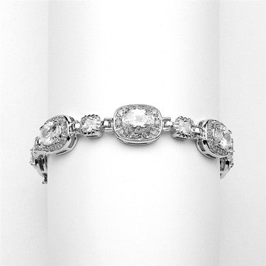 "Exclusive 6 1/2"" Designer CZ Bridal or Special Occasion Bracelet in Silver Rhodium - Jordan's Modern Bride and Groom"
