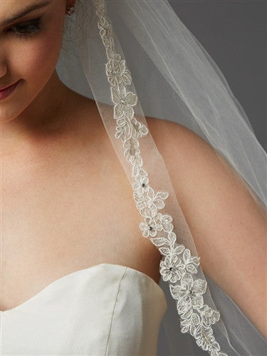 Sculpted Lace Edged Fingertip Length Mantilla Wedding Veil with Crystal Accents - Jordan's Modern Bride and Groom