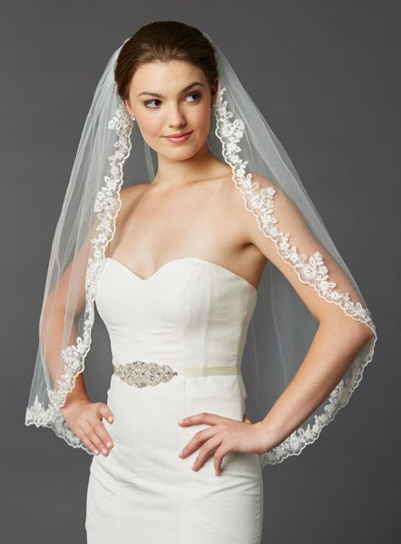 Scalloped Lace Edge Fingertip Mantilla Veil with Crystal & Beads - Jordan's Modern Bride and Groom