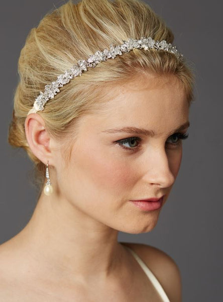 Slender Bridal Headband with Hand-wired Crystal Clusters and Ivory Ribbons - Jordan's Modern Bride and Groom