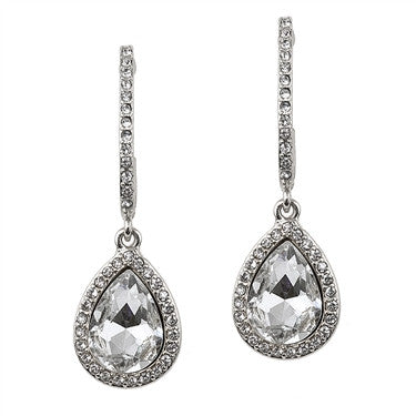 Pave Arc Earrings with Framed Crystal Teardrops