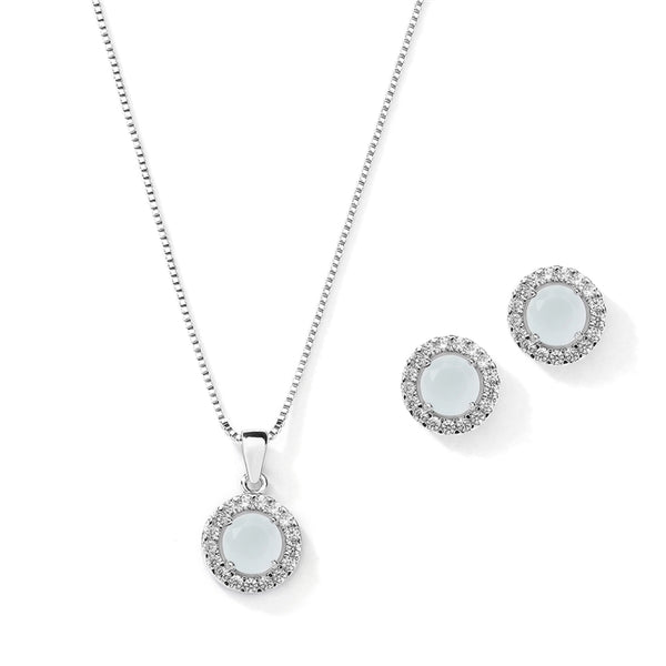 Gleaming Cubic Zirconia Round Shape Halo Necklace and Stud Earrings Set - Jordan's Modern Bride and Groom