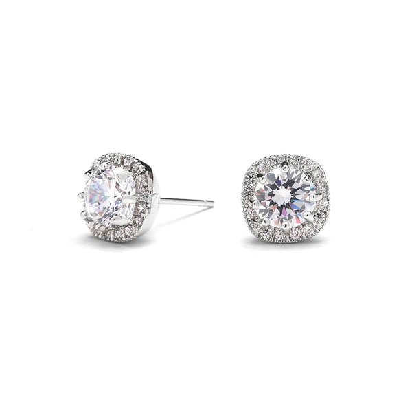 Cubic Zirconia Cushion Shape 10mm Halo Stud Earrings with Round Cut Solitaire - Jordan's Modern Bride and Groom