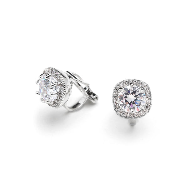 Cubic Zirconia Cushion Shape 10mm Halo Stud Earrings with Round Cut Solitaire - Clip On - Jordan's Modern Bride and Groom