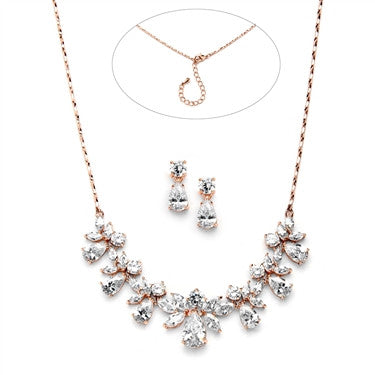 Multi Pear Shaped CZ Necklace Set with in Rose Gold with Delicate Chain - Jordan's Modern Bride and Groom