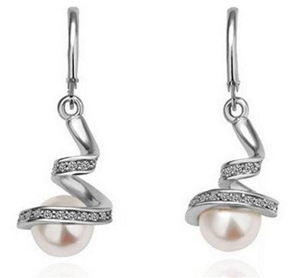 Pearl Dangle Crystal Earrings Silver Plated Ear Stud - Jordan's Modern Bride and Groom