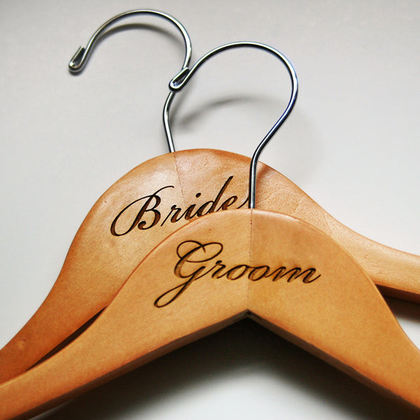 Engraved Bride & Groom Hangers - Jordan's Modern Bride and Groom