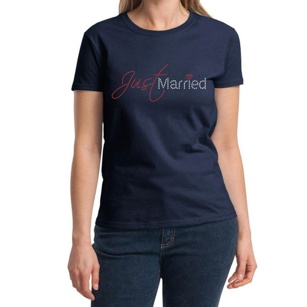 """Just Married"" Rhinestone T-Shirt - Jordan's Modern Bride and Groom"