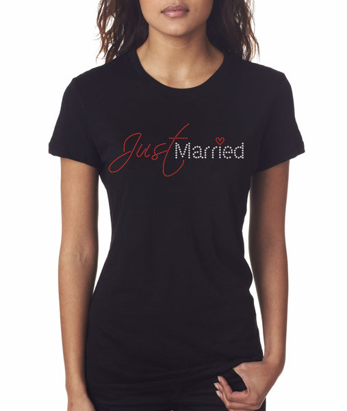"""Just Married"" Rhinestone T-Shirt"