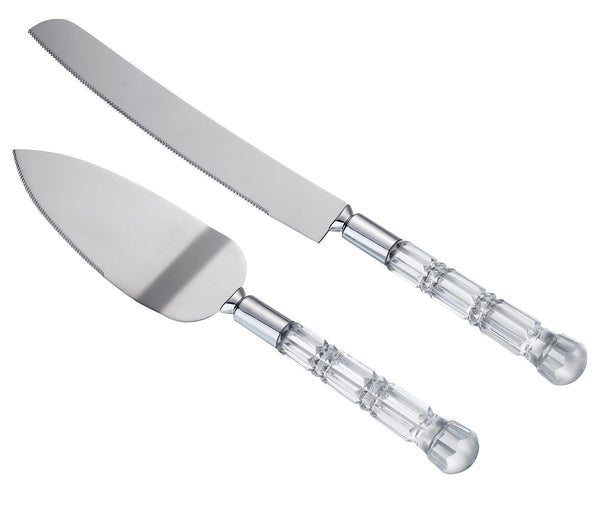 Acrylic Handle Knife & Server Set by Lillian Rose