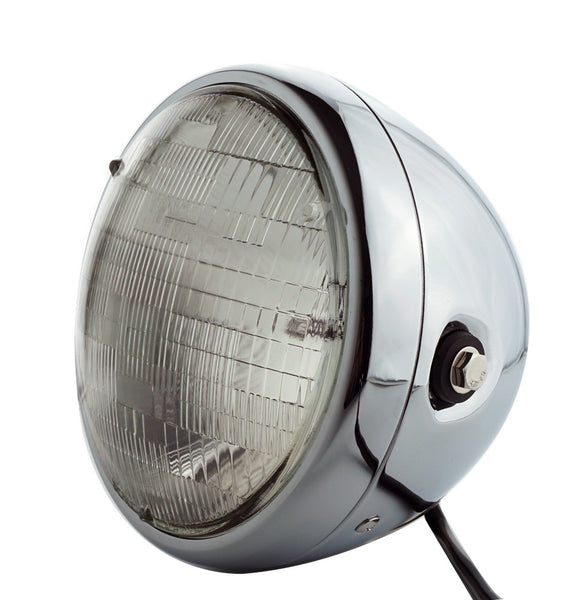Headlight, 7'' Chrome, Vintage, Classic Retro, Cafe Style - Moto Lights Australia