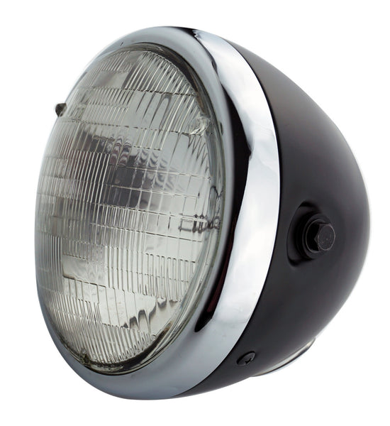 Headlight, 7'' Black & Chrome, Classic Retro, Cafe Style - Moto Lights Australia