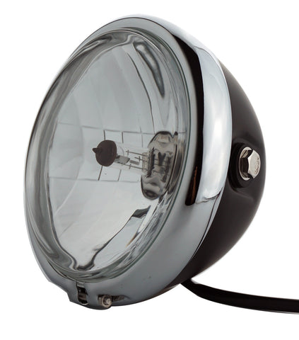 Headlight, 5.75'' Black & Chrome, Classic Retro, Cafe Style - Moto Lights Australia