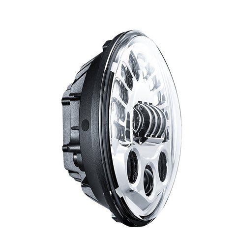 "7"" Adaptive LED Headlight - 70W (Black/Chrome) - Bracket Optional - Moto Lights Australia"