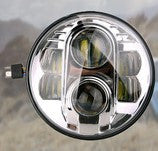"7"" LED Headlight - 80W (Black/Chrome) - PAIR - Moto Lights Australia"