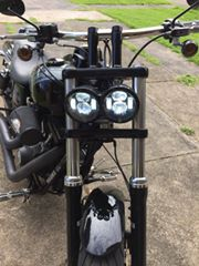 "FAT BOB LED 5""Headlights - (Black/Chrome) - Pair - Moto Lights Australia"