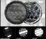 "7"" LED Headlight - 75W DRL (Black/Chrome) - PAIR - Moto Lights Australia"