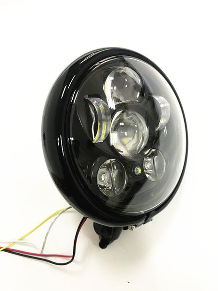 LED Headlight (50W)+ Bottom Mount Housing , 5.75'' Classic Retro, Cafe Style - Moto Lights Australia