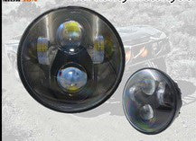 "TRIUMPH Rocket/Thunderbird LED Headlights - 5.75"" 80W (Black/Chrome) - Pair - Moto Lights Australia"