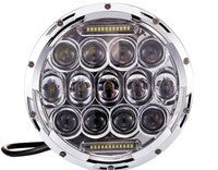 "7"" LED Headlight - 75W DRL (Black/Chrome) - Bracket Optional - Moto Lights Australia"