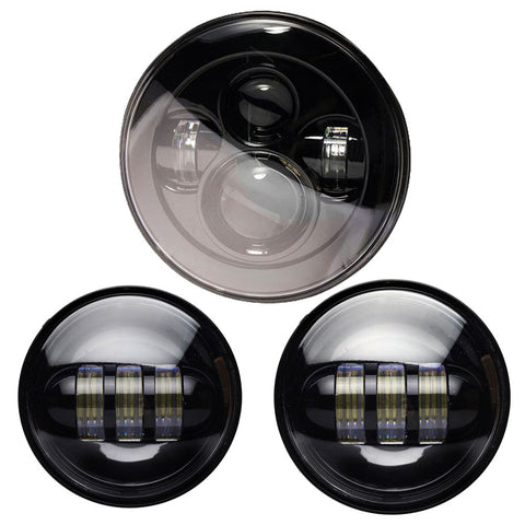 "7"" 80W LED HEADLIGHT / 4.5"" 60W LED AUX PACKAGE - Moto Lights Australia"