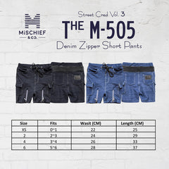 The M-505 - Denim Zipper Short Cargo Pants - Black