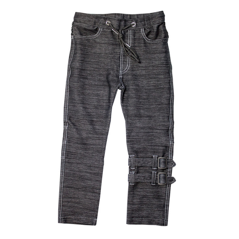 The M-502 - Ultra Soft Straps Denim Pants - Black