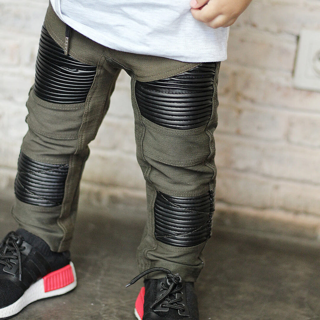 The M-503 - Soft Denim Leather Pants - Army Green