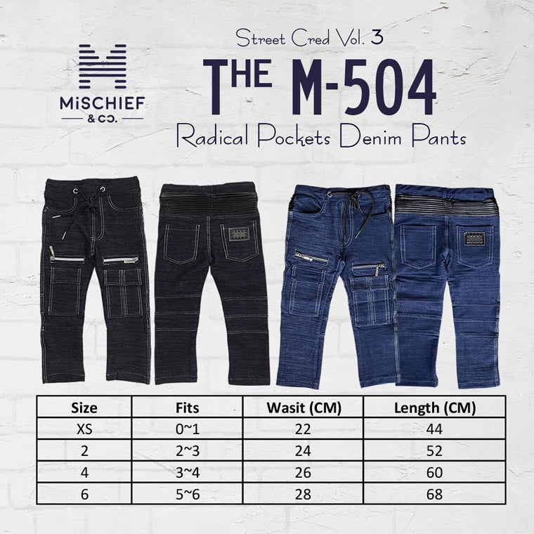 The M-504 - Zippers & Pockets Denim Cargo Pants - Black