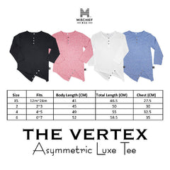 The Vertex - Asymmetric Luxe Tee - Coral
