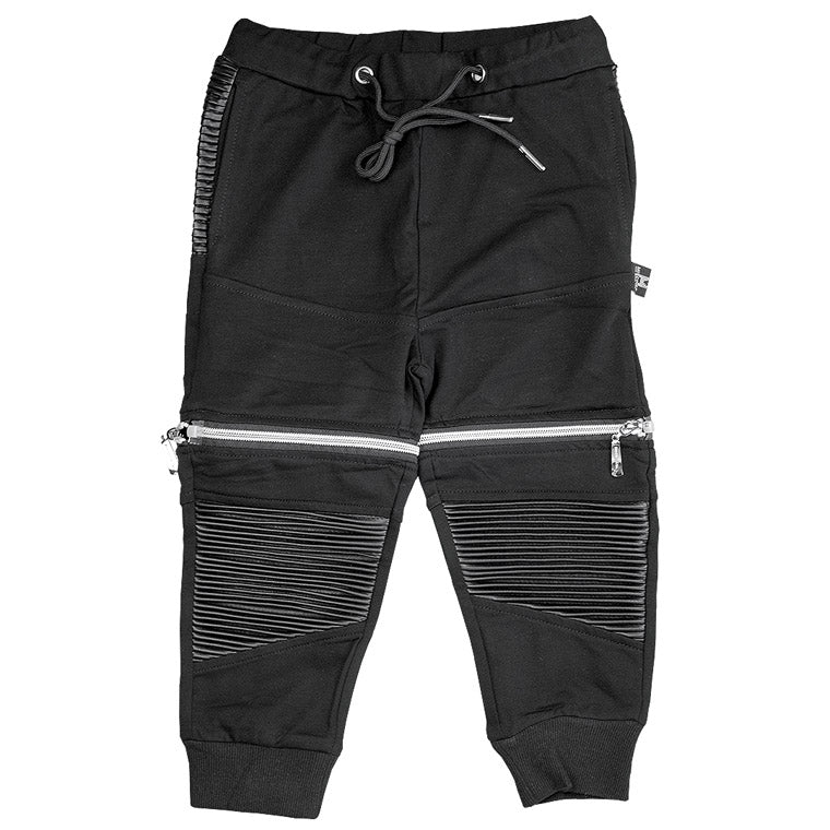 Knee Leather Patch Jogger + Short Pants - Thrill Pl 2.0 - Black