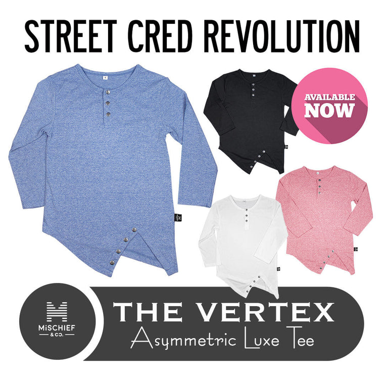 The Vertex - Asymmetric Luxe Tee - Azure