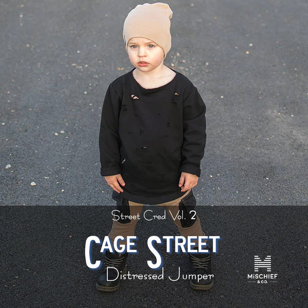 Limited Edition Distressed Jumper - Cage Street | Black
