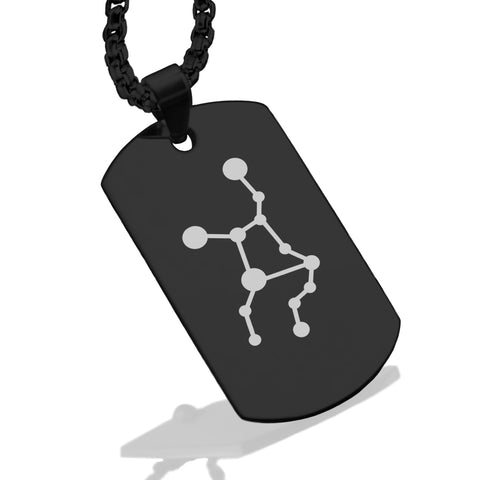 Stainless Steel Virgo (Maiden) Astrology Constellations Dog Tag Pendant - Comfort Zone Studios