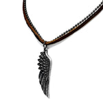 Antique Vintage Angel Bird Feather Genuine Brown Leather Military Ball Chain Necklace - Comfort Zone Studios