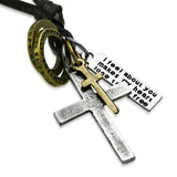 Antique Vintage Cross Ring Inspirational Charm Adjustable Black Leather Necklace - Comfort Zone Studios