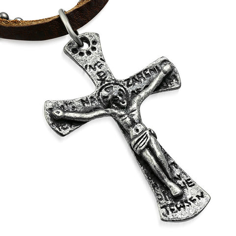 Antique Vintage Jesus on the Cross Genuine Brown Leather Military Ball Chain Necklace - Comfort Zone Studios