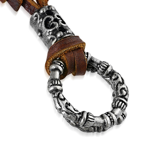 Antique Vintage Tribal Interlocking Open Circle Charm Adjustable Genuine Brown Leather Necklace - Comfort Zone Studios